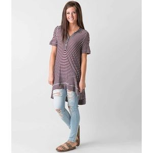 Free People We the Free Mulberry Stripe Henley Top
